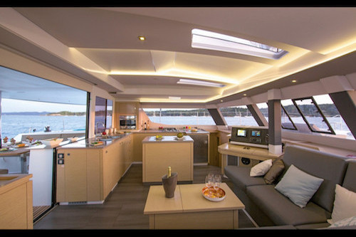 A view of the galley on the Libra yacht, part of the And Beyond Yacht Charters fleet