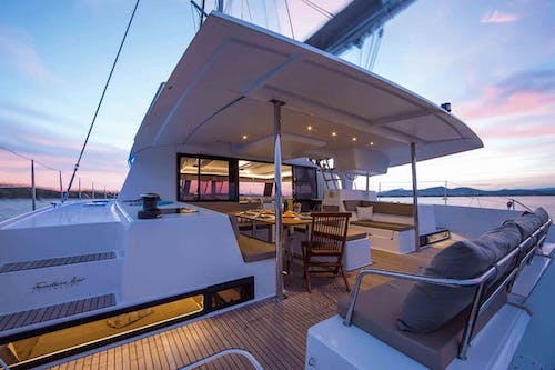 A view of the cockpit from the flybridge on the Libra private catamaran yacht
