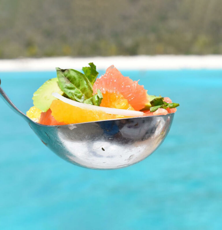 Closeup of a spoon filled with tropical fruit with blue water in the background