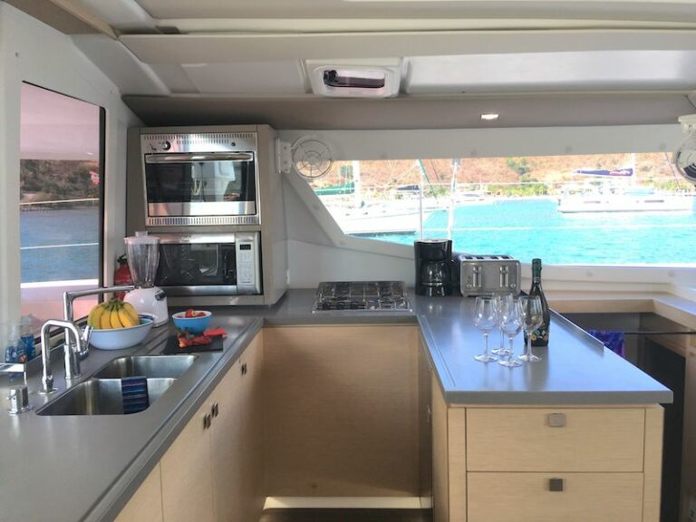 The galley of the Eddies in Time yacht, part of the And Beyond Yacht Charters fleet