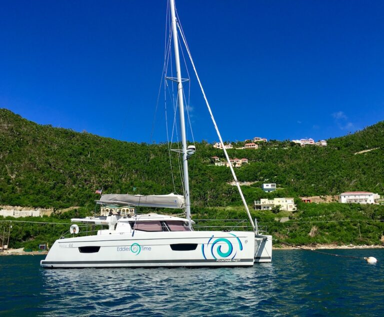 Exterior of the Eddies in Time yacht anchored near an island shore in the British Virgin Islands