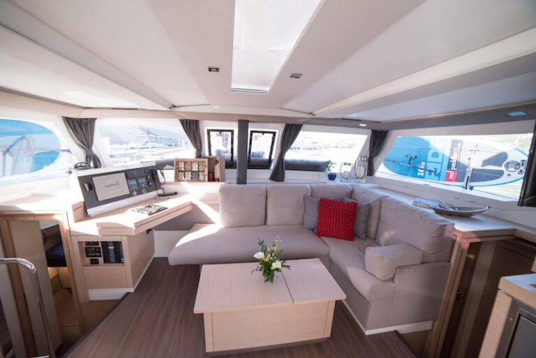 The salon seating area aboard the 3 Sisters yacht