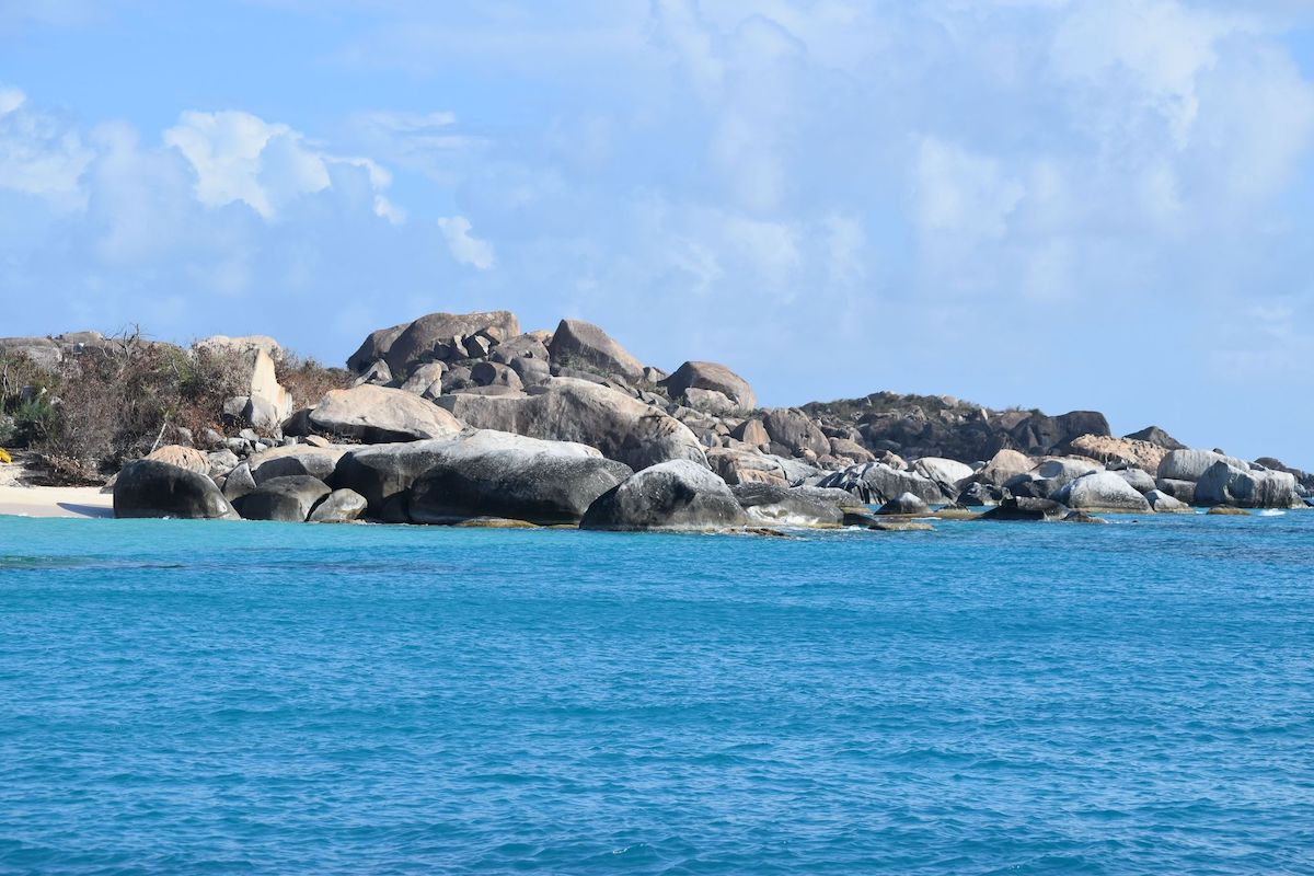 A beach landscape with boulders in the Virgin Islands