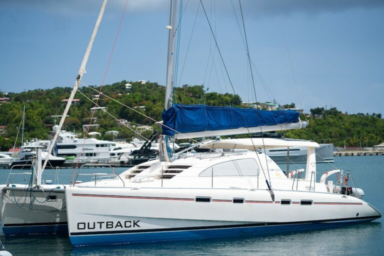 Exterior of the Outback yacht docked in a marina in St Thomas, Virgin Islands