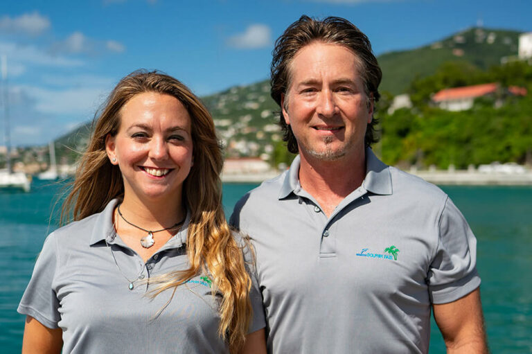 Jason and Mindy, crew members for Dolphin Daze yacht