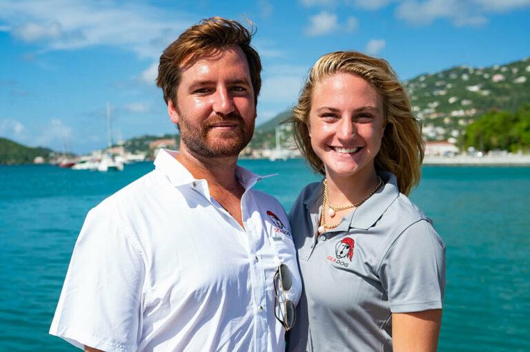 Keagan and Olivia, crew members for Sea Dog yacht