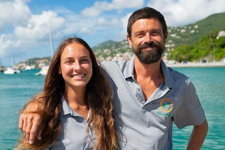 Thomson and Shayna, crew members of Island R&R catamaran yacht