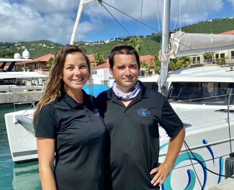 Bennet and Tara, crew members for Eddies in Time catamaran