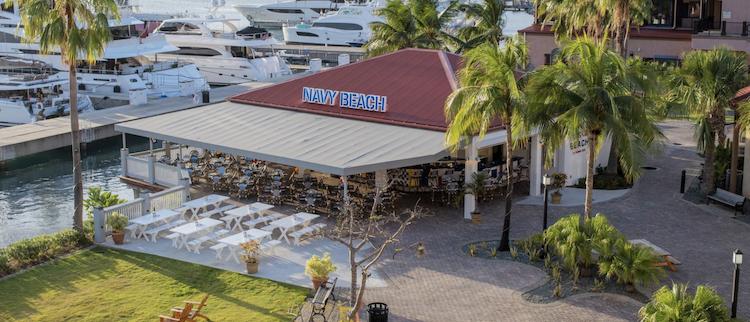 Aerial view of Navy Beach, a restaurant in St. Thomas, USVI